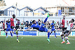 Ollie Palmer of Grimsby Town attempts an over head kick during the Vanamara Conference League match between Woking and Grimsby Town at the Kingfield Stadium, Woking, Surrey<br /> Picture by David Horn/eXtreme aperture photography +44 7545 970036<br /> 07/03/2015