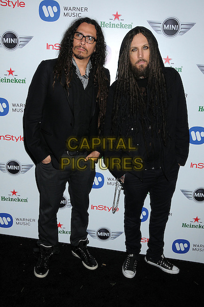 James Shaffer & Brian Welch of Korn.Warner Music Group 2013 Grammy Celebration held at The Chateau Marmont, West Hollywood, California, USA..February 10th, 2013.full length suit black glasses grey gray scarf goatee facial hair band group.CAP/ADM/BP.©Byron Purvis/AdMedia/Capital Pictures.