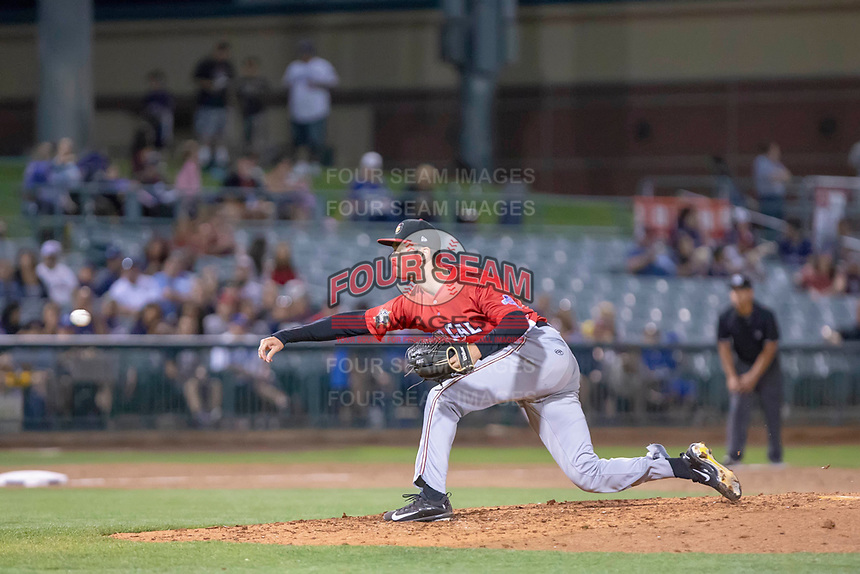 Wyatt Mills (14) of the Modesto Nuts follows through on his delivery against the South Division during the 2018 California League All-Star Game at The Hangar on June 19, 2018 in Lancaster, California. The North All-Stars defeated the South All-Stars 8-1.  (Donn Parris/Four Seam Images)