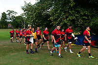 Dragons players arrive for training. Bath Rugby pre-season training on August 8, 2018 at Farleigh House in Bath, England. Photo by: Patrick Khachfe / Onside Images