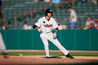 Tri-City ValleyCats second baseman Michael Wielansky (17) leads off first base during a game against the Vermont Lake Monsters on June 16, 2018 at Joseph L. Bruno Stadium in Troy, New York.  Vermont defeated Tri-City 6-2.  (Mike Janes/Four Seam Images)