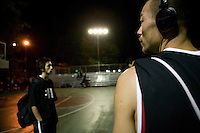 The Far East Ballers, a Japanese street basketball team, play a game against a local team in the Dyckman Tournament, New York City, USA, June 17 2005.