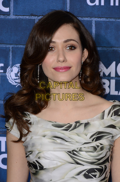 Emmy Rossum.Montblanc Hosts Pre-Oscar Charity Brunch Benefiting UNICEF held at Hotel Bel-Air, Los Angeles, California, USA..February 23rd, 2013.headshot portrait grey gray floral print black  .CAP/ADM/TW.©Tonya Wise/AdMedia/Capital Pictures