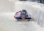 8 January 2016: Marina Gilardoni, competing for Switzerland, crosses the finish line on her first run of the BMW IBSF World Cup Skeleton race at the Olympic Sports Track in Lake Placid, New York, USA. Mandatory Credit: Ed Wolfstein Photo *** RAW (NEF) Image File Available ***