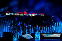 Picture by Rogan Thomson/SWpix.com - 14/07/2017 - Diving - Fina World Championships 2017 -  Szechenyi Square, Budapest, Hungary - General View as Buda Castle is illuminted in the Hungarian Flag during the Opening Ceremony on the edge of the River Danube.