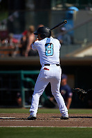 Inland Empire 66ers second baseman Jahmai Jones (8) at bat during a California League game against the Lancaster JetHawks at San Manuel Stadium on May 20, 2018 in San Bernardino, California. Inland Empire defeated Lancaster 12-2. (Zachary Lucy/Four Seam Images)