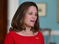 Washington, DC - May 11, 2018: Canadian Foreign Minister Chrystia Freeland meets with U.S. Secretary of State Mike Pompeo at the Department of State in Washington, D.C. May 11, 2018.  (Photo by Don Baxter/Media Images International)