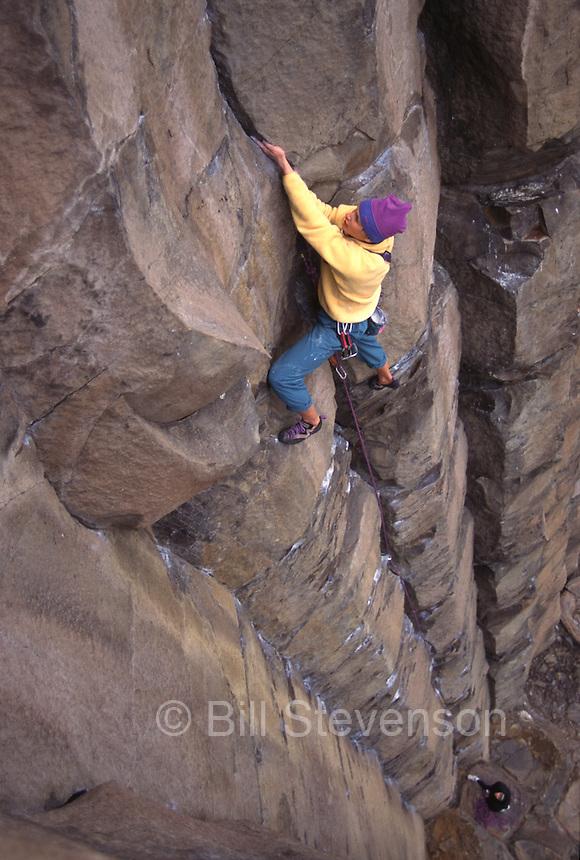 A man rock climbing at Vantage, WA.