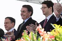 SÃO PAULO, SP, 11.10.2019: BOLSONARO-FORMATURA-SARGENTOS-SP - O Presidente da República, Jair Bolsonaro(PSL), o governador de São Paulo, João Doria(PSDB), o Ministro do Meio Ambiente, Ricardo Salles e o Ministro de Estado Chefe do Gabinete de Segurança,  Augusto Heleno, participam da Solenidade de Formatura do Curso Superior de Tecnólogo de Polícia Ostensiva e Preservação da Ordem Pública (Curso de Formação de Sargentos), no Anhembi na zona norte de São Paulo, nesta manhã de sexta-feira, 11. (Foto: Fábio Vieira/FotoRua)