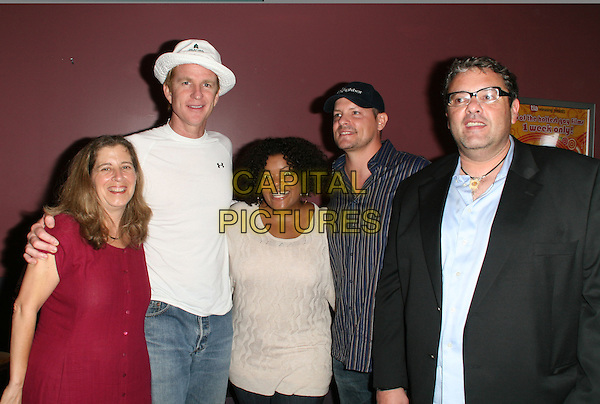 "CAST - Karen Shapiro, Matthew Modine, Yvette Nicole Brown, Director Eddie O'Flaherty and Michel Rampal.""The Neighbor"" World Premiere held Laemmle Sunset 5, West Hollywood, California, USA, .11 August 2008..half length red top white hat cap glasses .CAP/ADM/FS.©Faye Sadou/Admedia/Capital Pictures"