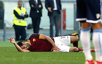 Calcio, Serie A: Roma vs Lazio. Roma, stadio Olimpico, 8 novembre 2015.<br /> Roma's Mohamed Salah lies on the pitch after getting injured during the Italian Serie A football match between Roma and Lazio at Rome's Olympic stadium, 8 November 2015.<br /> UPDATE IMAGES PRESS/Riccardo De Luca