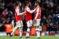 7th March 2020; Emirates Stadium, London, England; English Premier League Football, Arsenal versus West Ham United; Alexandre Lacazette of Arsenal speaks with Joe Willock after the final whistle