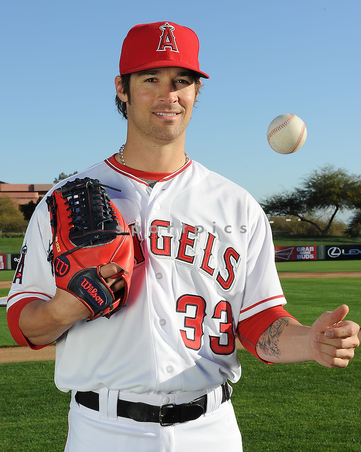 Los Angeles Angels CJ Wilson (33) during media photo day on February 21, 2013 at spring training in Tempe, AZ.