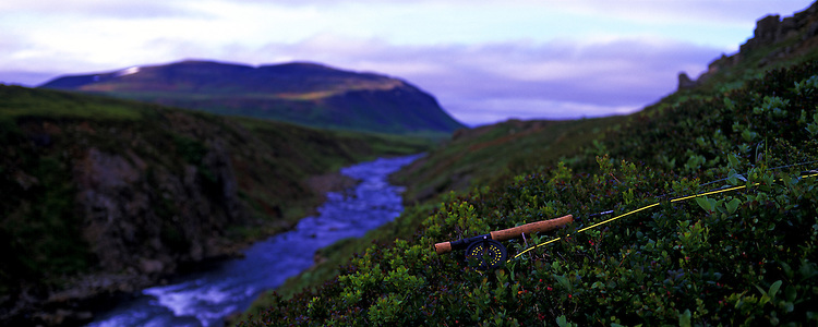 Fly rod in the mos with river Svalbardsa in the background. Images taken with Hasselblad Xpan camera and Fuji Velvia film.