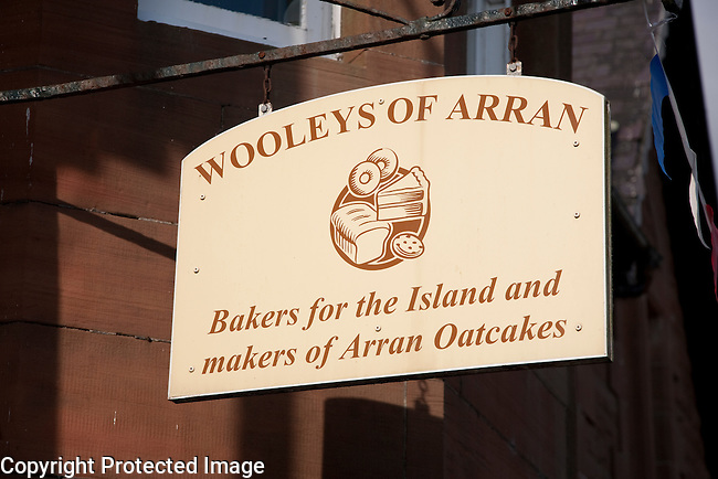 Wooleys of Arran Sign, Bakers and Makers of Oakcakes, Isle of Arran, Scotland