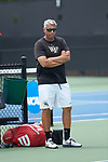 Wake Forest Demon Deacons head coach Tony Bresky watches the match against the Texas A&M Aggies during the semifinals at the 2018 NCAA Men's Tennis Championship at the Wake Forest Tennis Center on May 21, 2018 in Winston-Salem, North Carolina. The Demon Deacons defeated the Aggies 4-3. (Brian Westerholt/Sports On Film)