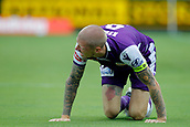 25th March 2018, nib Stadium, Perth, Australia; A League football, Perth Glory versus Melbourne Victory; Andy Keogh of the Perth Glory appeals to the referee after a heavy tackle in the Glory box during the first half