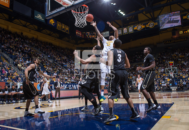 California's Richard Solomon shoots for the basket during a game against Colorado at Haas Pavilion in Berkeley, California on March 8th, 2014. California defeated Colorado 66 - 65