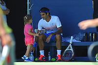 Roger Federer con sua moglie Mirka ed una delle sue figlie<br /> New York Flushing Meadows 03-09-2013 Tennis Torneo US Open Grande Slam.<br /> Photo Antoine Couvercelle / Panoramic / Insidefoto<br /> ITALY ONLY