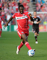Chicago Fire forward Patrick Nyarko (14) dribbles down the field.  The Chicago Fire tied DC United 0-0 at Toyota Park in Bridgeview, IL on Oct. 16, 2010.