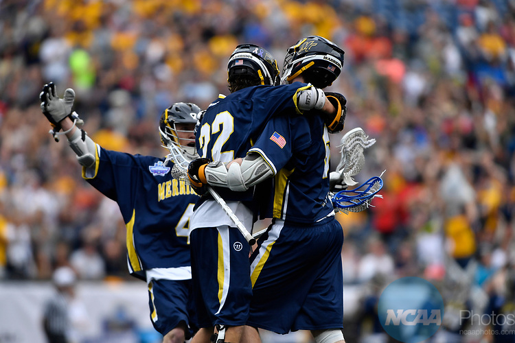 FOXBORO, MA - MAY 28: Members of the Merrimack Warriors celebrate after scoring a goal against the Limestone Saints during the Division II Men's Lacrosse Championship held at Gillette Stadium on May 28, 2017 in Foxboro, Massachusetts. (Photo by Larry French/NCAA Photos via Getty Images)