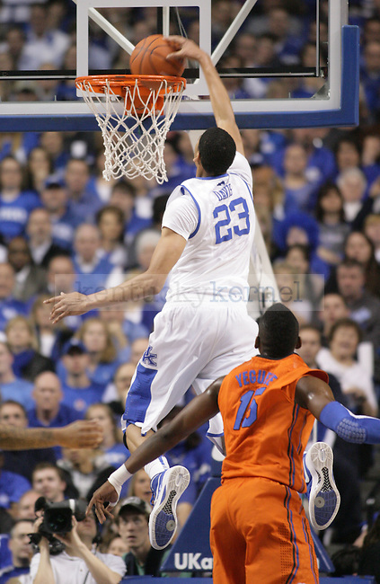 UK freshman forward Anthony Davis dunks the ball during the first half of UK's home game against Florida at Rupp Arena in Lexington, Ky. Feb. 7, 2012. Photo by Brandon Goodwin | Staff