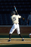 Patrick Frick (5) of the Wake Forest Demon Deacons at bat against the Liberty Flames at David F. Couch Ballpark on April 25, 2018 in  Winston-Salem, North Carolina.  The Demon Deacons defeated the Flames 8-7.  (Brian Westerholt/Four Seam Images)