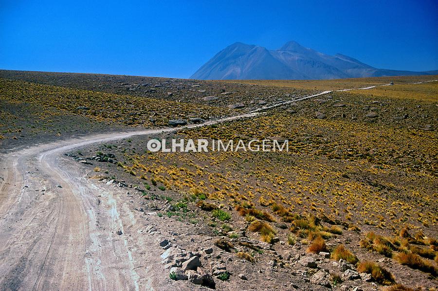 Estrada em terra no Deserto do Atacama. Chile. 1998. Foto de Vinícius Romanini.