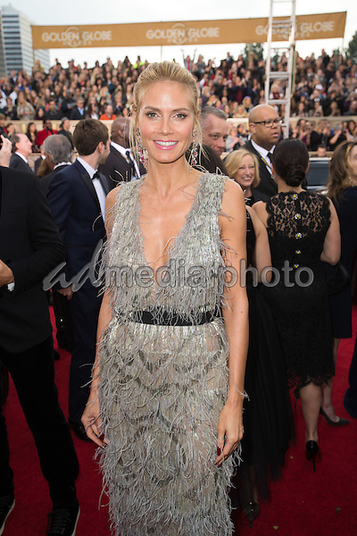 Heidi Klum arrives at the 73rd Annual Golden Globe Awards at the Beverly Hilton in Beverly Hills, CA on Sunday, January 10, 2016. Photo Credit: HFPA/AdMedia