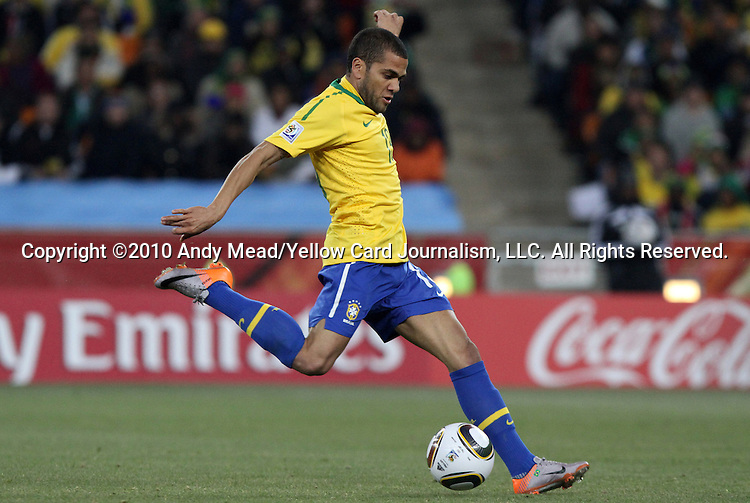 20 JUN 2010: Dani Alves (BRA). The Brazil National Team defeated the C'ote d'Ivoire National Team 3-1 at Soccer City Stadium in Johannesburg, South Africa in a 2010 FIFA World Cup Group G match.