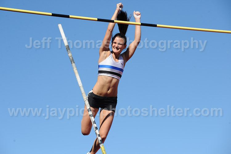 International athletics at Cardiff International stadium, Cardiff, South Wales - Tuesday 15th July 2014<br /> <br /> Courtney Maguire of Scotland clears the bar during the Womens pole vault competition. <br /> <br /> <br /> Photo by Jeff Thomas Photography