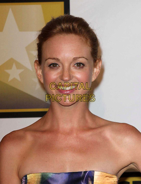 Jayma Mays.1st Annual Critics' Choice Television Awards Luncheon held at The Beverly Hills Hotel, Beverly Hills, California, USA, 20th June 2011..portrait headshot smiling hair up strapless purple peach print .CAP/ADM/KB.©Kevan Brooks/AdMedia/Capital Pictures.