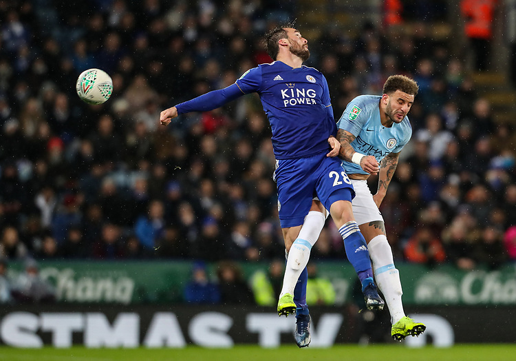 Manchester City's Riyad Mahrez competing with Leicester City's Christian Fuchs<br /> <br /> Photographer Andrew Kearns/CameraSport<br /> <br /> English League Cup - Carabao Cup Quarter Final - Leicester City v Manchester City - Tuesday 18th December 2018 - King Power Stadium - Leicester<br />  <br /> World Copyright © 2018 CameraSport. All rights reserved. 43 Linden Ave. Countesthorpe. Leicester. England. LE8 5PG - Tel: +44 (0) 116 277 4147 - admin@camerasport.com - www.camerasport.com