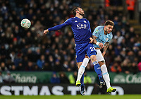 Manchester City's Riyad Mahrez competing with Leicester City's Christian Fuchs<br /> <br /> Photographer Andrew Kearns/CameraSport<br /> <br /> English League Cup - Carabao Cup Quarter Final - Leicester City v Manchester City - Tuesday 18th December 2018 - King Power Stadium - Leicester<br />  <br /> World Copyright &copy; 2018 CameraSport. All rights reserved. 43 Linden Ave. Countesthorpe. Leicester. England. LE8 5PG - Tel: +44 (0) 116 277 4147 - admin@camerasport.com - www.camerasport.com