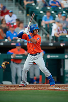 Syracuse Mets Ruben Tejada (1) bats during an International League game against the Buffalo Bisons on June 29, 2019 at Sahlen Field in Buffalo, New York.  Buffalo defeated Syracuse 9-3.  (Mike Janes/Four Seam Images)
