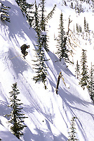 Chris Johnson dropping in at Valhalla Powdercats Snowcat Skiing, West Kootenay, BC