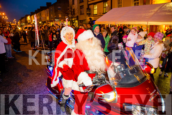 Santa and Mrs Clause arrive  at the Castleisland Christmas lights Event on Friday