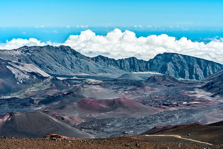 The crater of Mount Haleakala as seen from the summit (elev. 10,000 feet)