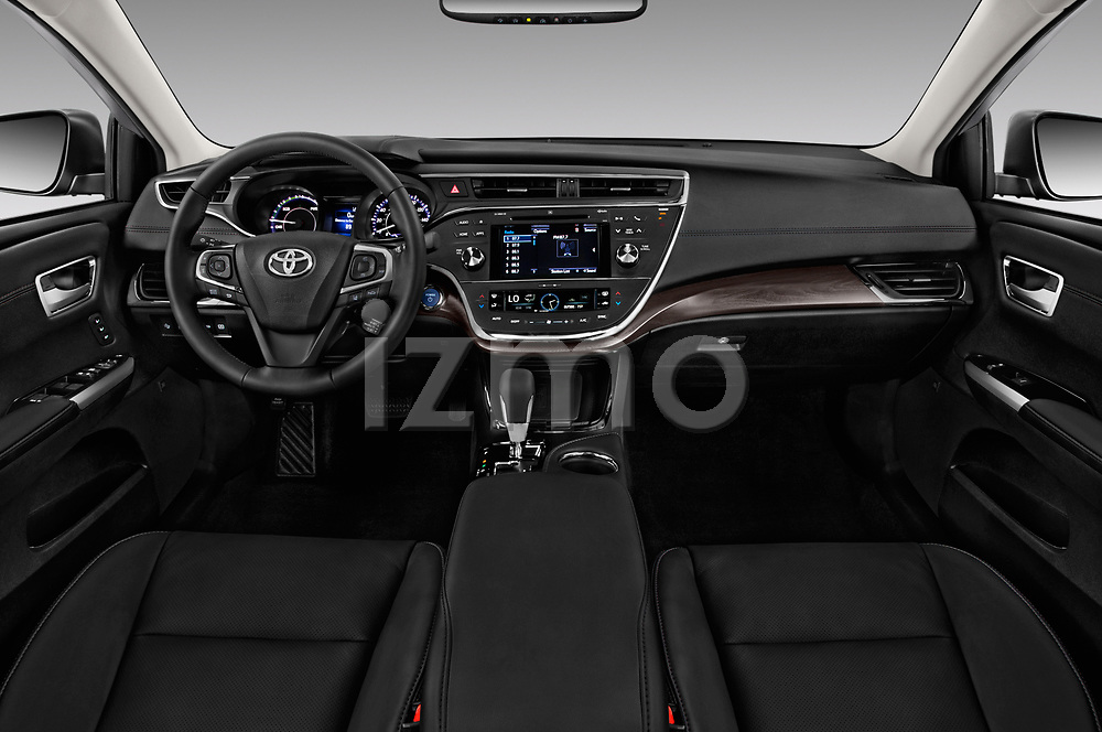 Stock photo of straight dashboard view of a 2018 Toyota Avalon Limited Hybrid 4 Door Sedan