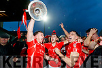 Dan O'Donoghue, David Spillane, and Mike Foley, East Kerry players celebrate after the Kerry County Senior Club Football Championship Final match between East Kerry and Dr. Crokes at Austin Stack Park in Tralee, Kerry.