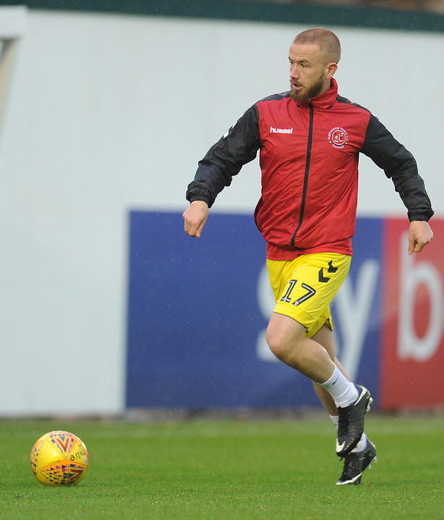 Fleetwood Town's Paddy Madden during the pre-match warm-up <br /> <br /> Photographer Kevin Barnes/CameraSport<br /> <br /> The EFL Sky Bet League One - Plymouth Argyle v Fleetwood Town - Saturday 24th November 2018 - Home Park - Plymouth<br /> <br /> World Copyright © 2018 CameraSport. All rights reserved. 43 Linden Ave. Countesthorpe. Leicester. England. LE8 5PG - Tel: +44 (0) 116 277 4147 - admin@camerasport.com - www.camerasport.com