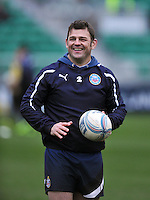 Lee Mears smiles during the pre-match warm-up. Amlin Challenge Cup match, between Bath Rugby and Agen on January 12, 2013 at the Recreation Ground in Bath, England. Photo by: Patrick Khachfe / Onside Images