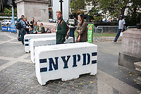 NYPD ramps up security on Tuesday, September 22, 2015 for Pope Francis' visit with the entrances to Central Park secured and a maze of barricades inside the park. While in New York the Holy Father will have a motorcade in Central Park where 80,000 people who received tickets will see him.  (© Richard B. Levine)