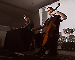 May 19, 2018. Durham, North Carolina.<br /> <br /> Valgeir Sigurdsson (left) and Liam Byrne at the Durham Armory. <br /> <br /> Moogfest 2018 showcases 4 days of music, art and technology spread out amongst venues in and around downtown Durham.
