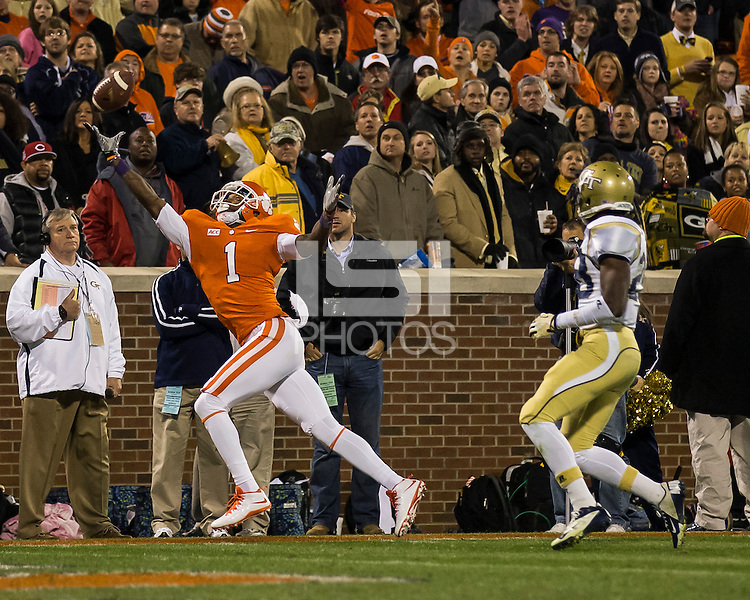 The eighth ranked Clemson Tigers defeat the Georgia Tech Yellow Jackets at Death Valley 55-31 in an ACC matchup.Clemson Tigers wide receiver Martavis Bryant (1) stretches for a pass