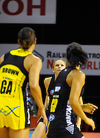 Jo Harten waits for a pass during the ANZ Netball Championship match between the Central Pulse and Waikato Bay Of Plenty Magic at TSB Bank Arena, Wellington, New Zealand on Monday, 30 March 2015. Photo: Dave Lintott / lintottphoto.co.nz