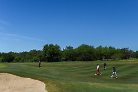 Zach Johnson (USA), Trey Mullinax (USA), and Andrew Landry (USA) approach the green on 2 under clear skies during Round 4 of the Valero Texas Open, AT&amp;T Oaks Course, TPC San Antonio, San Antonio, Texas, USA. 4/22/2018.<br /> Picture: Golffile | Ken Murray<br /> <br /> <br /> All photo usage must carry mandatory copyright credit (&copy; Golffile | Ken Murray)