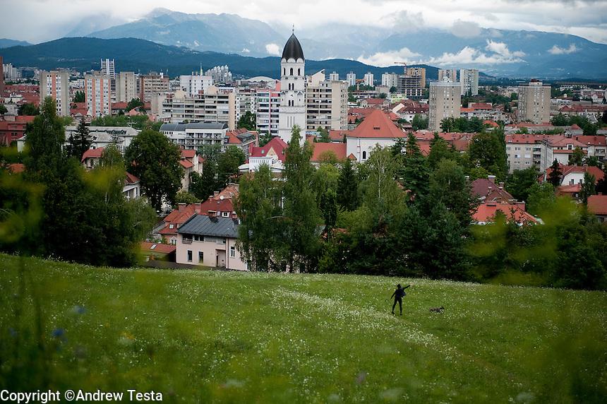 SLOVENIA. Ljubljana. 24th July 2011.<br /> Ljubljana from the castle hill.<br /> &copy;Andrew Testa for the New York Times