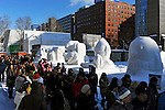 February 5th, 2013 : Sapporo, Japan - Snow statues attract visitors during the opening day of Sapporo Yuki Matsuri, or Sapporo Snow Festival in Hokkaido, Japan. The Sapporo Snow Festival marks the 64th year consisting of various shapes and sizes of snow statues and ice sculptures. (Photo by Koichiro Suzuki/AFLO)