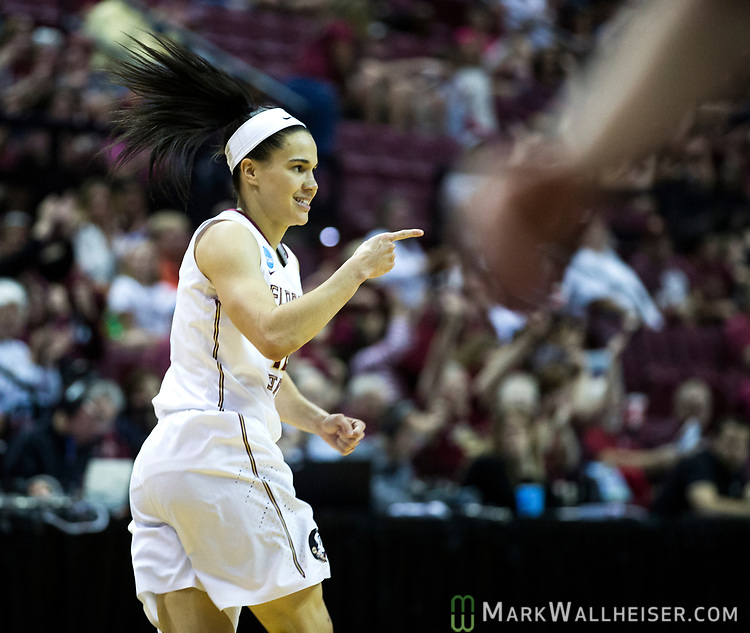 Florida State guard Brittany Brown reacts after a steal and score against Missouri during the second half of a second-round game of the NCAA women's college basketball tournament in Tallahassee, Fla., Sunday, March 19, 2017. Florida State defeated Missouri 77-55. (AP Photo/Mark Wallheiser)